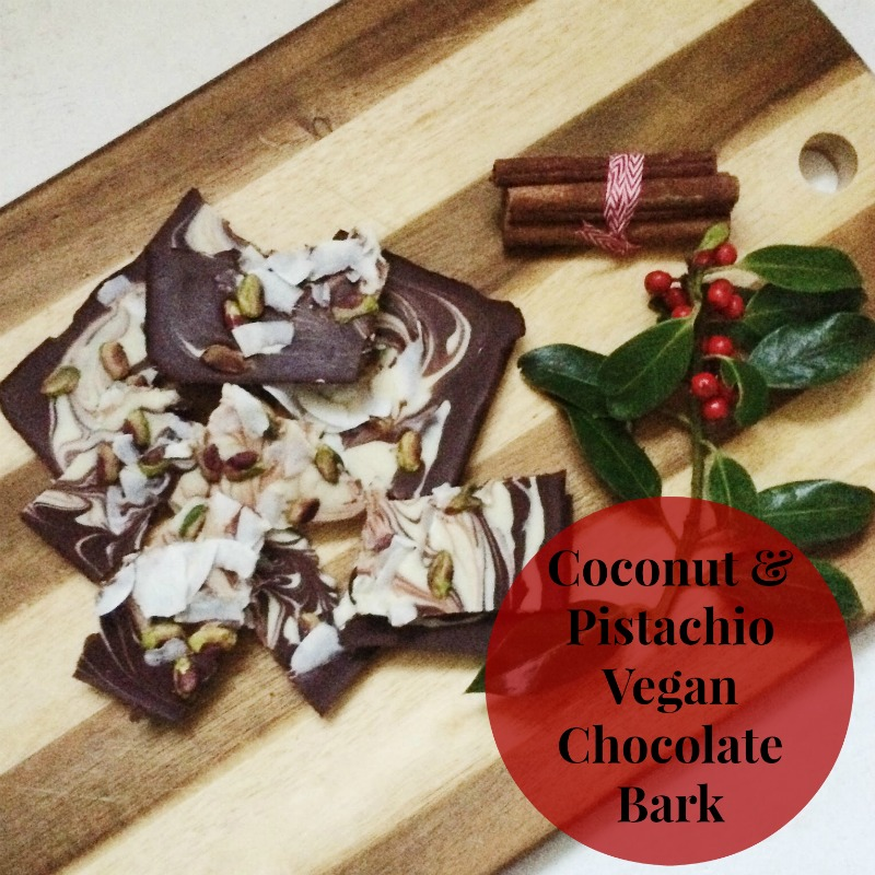 Coconut and Pistachio Vegan Chocolate Bark